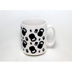 Kubek Kettlebell 330ml biały z czarnym wzorem