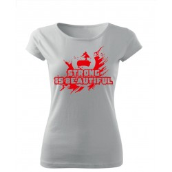 "T-Shirt Damski Biały ""Strong Is Beautifull"""