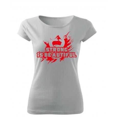 "T-Shirt Damski Biały ""Strong Is Beautifull"""
